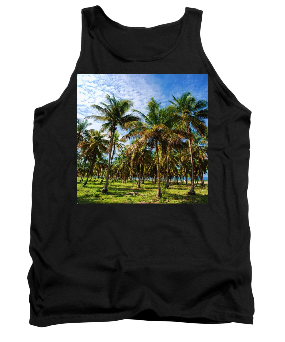 Palms Tank Top featuring the photograph Palms And Sky by Galeria Trompiz