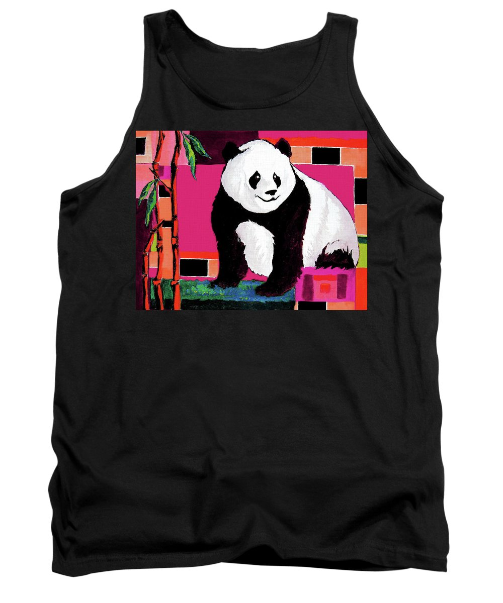 Panda Tank Top featuring the painting Panda Abstrack Color Vision by Alban Dizdari