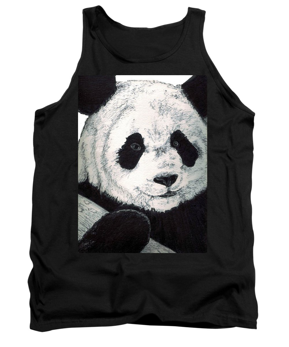 Panda Tank Top featuring the painting Panda by Debra Sandstrom