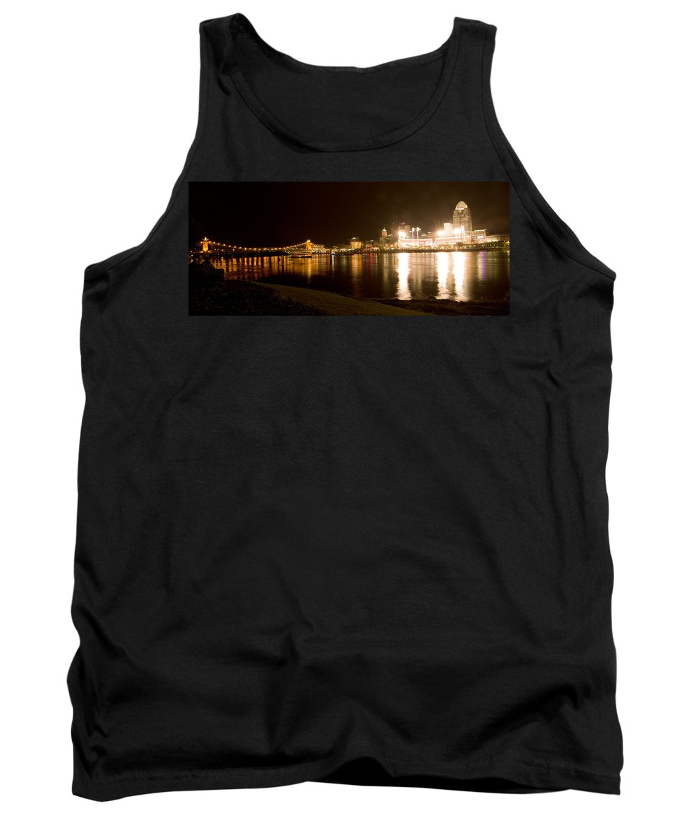 Allstars Game Tank Top featuring the photograph Panorama Ohio Suspension Bridge To Great American Tower by Randall Branham