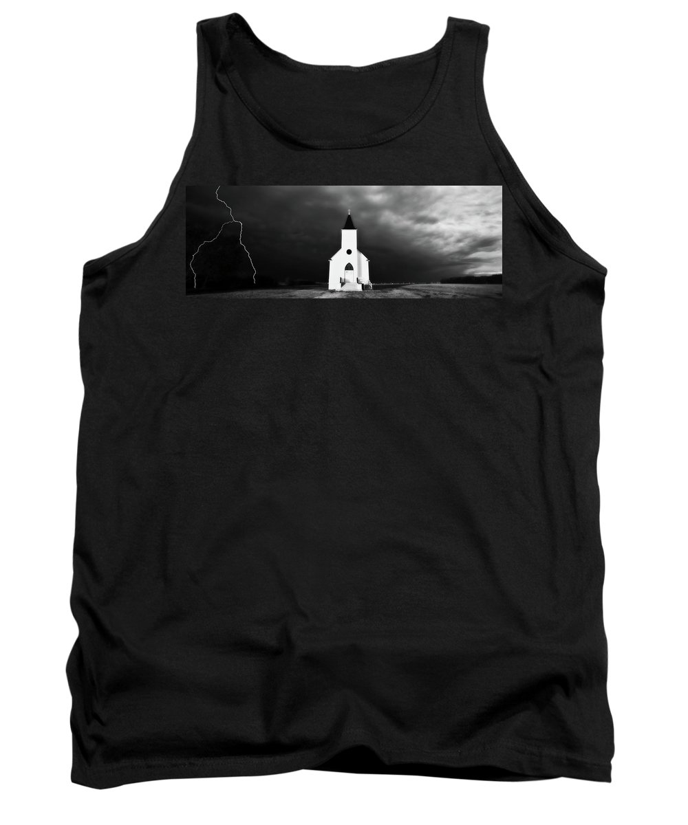 Tank Top featuring the digital art Panoramic Lightning Storm And Prairie Church 2 by Mark Duffy