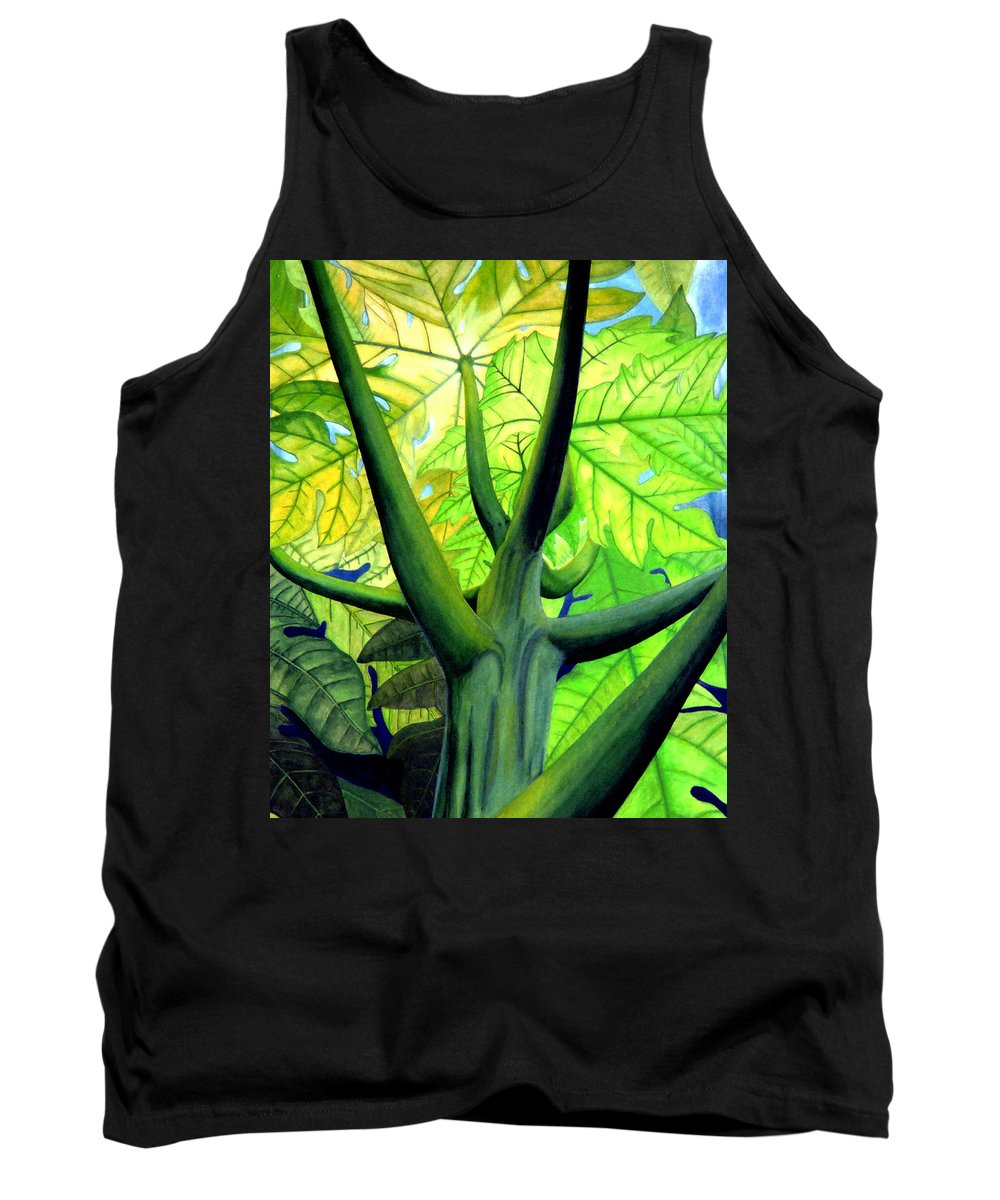 Papaya Tree Tank Top featuring the painting Papaya Tree by Kevin Smith