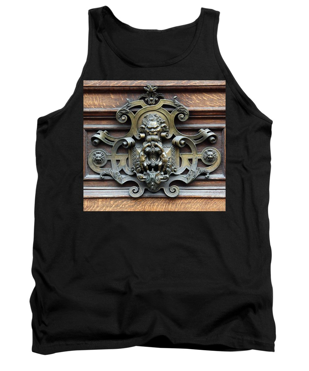 Greetings Tank Top featuring the photograph Paris - 19th Century Brass Door Knocker by Yvonne Wright