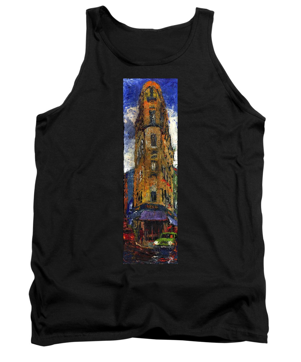 Oil Tank Top featuring the painting Paris Hotel 7 Avenue by Yuriy Shevchuk