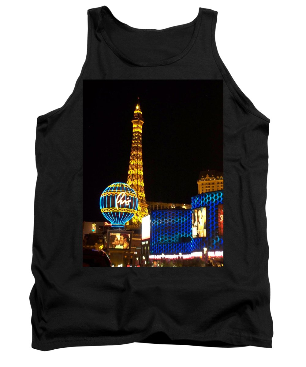 Vegas Tank Top featuring the photograph Paris Hotel At Night by Anita Burgermeister