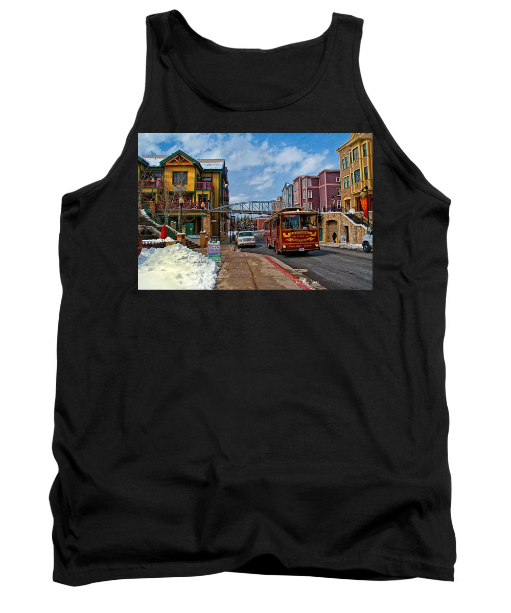Park City Utah Photography Tank Top featuring the photograph Park City Trolley Car by La Rae Roberts