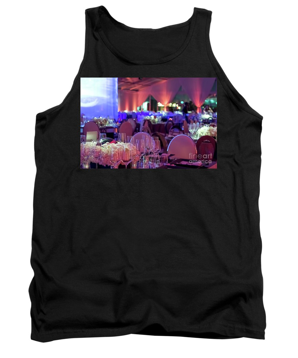 Abstract Tank Top featuring the photograph Party Setting With Colorful Bokeh Background by Eiko Tsuchiya