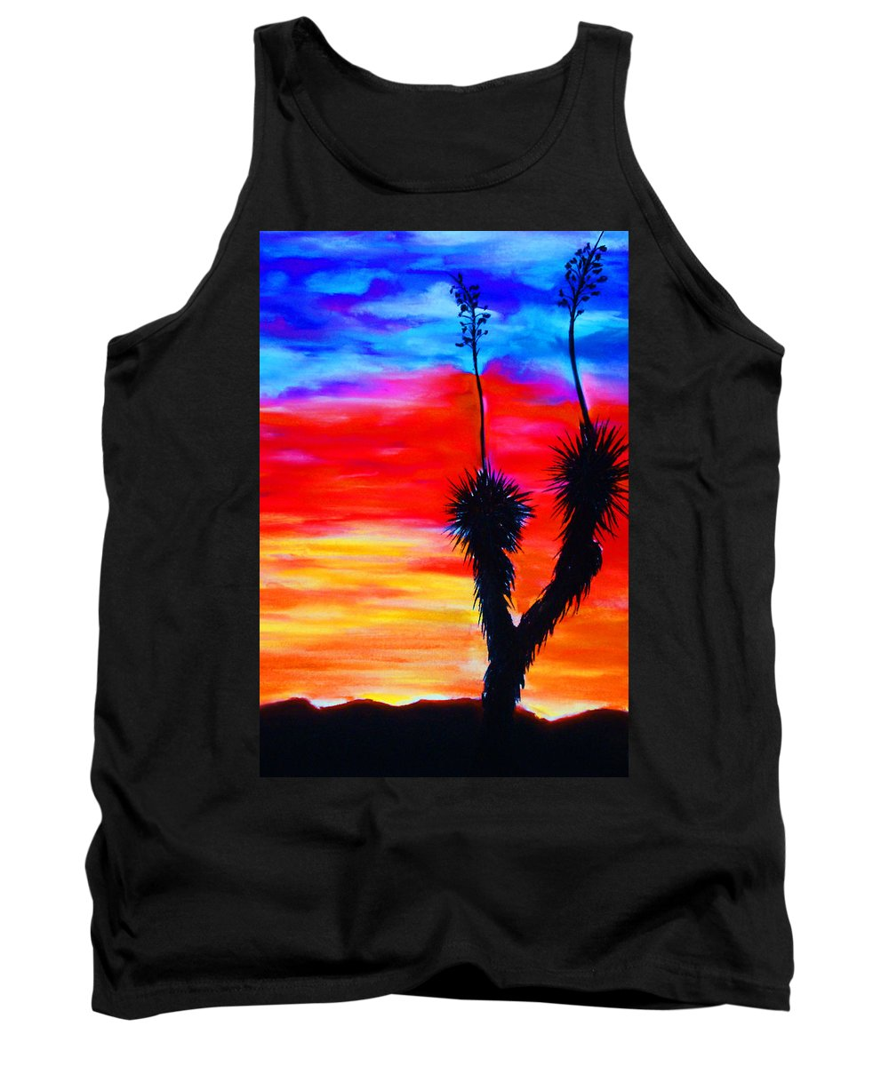 Sunset Tank Top featuring the painting Paso Del Norte Sunset 1 by Melinda Etzold