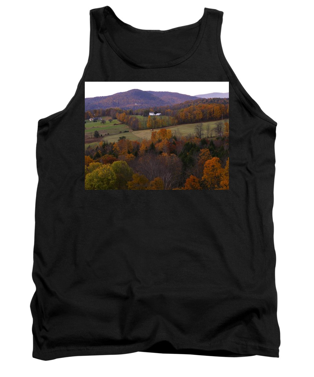 Vermont Tank Top featuring the photograph Patch Worked Mountains In Vermont by Nancy Griswold