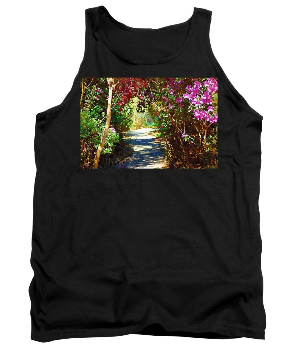 Landscape Tank Top featuring the digital art Path To The Gardens by Donna Bentley