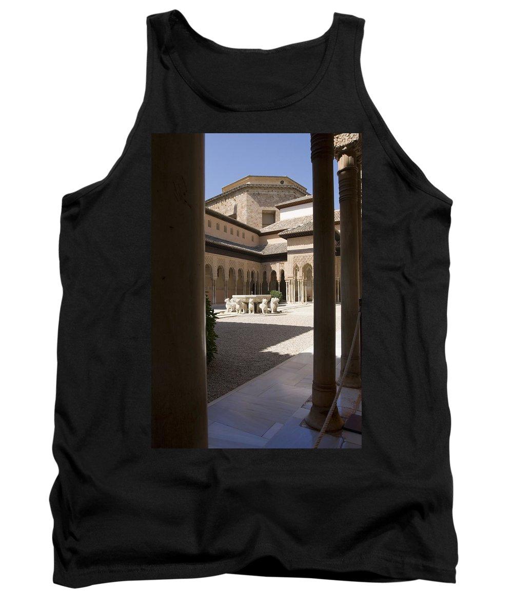 Patio Tank Top featuring the photograph Patio De Los Leones Nasrid Palaces Alhambra Granada by Mal Bray