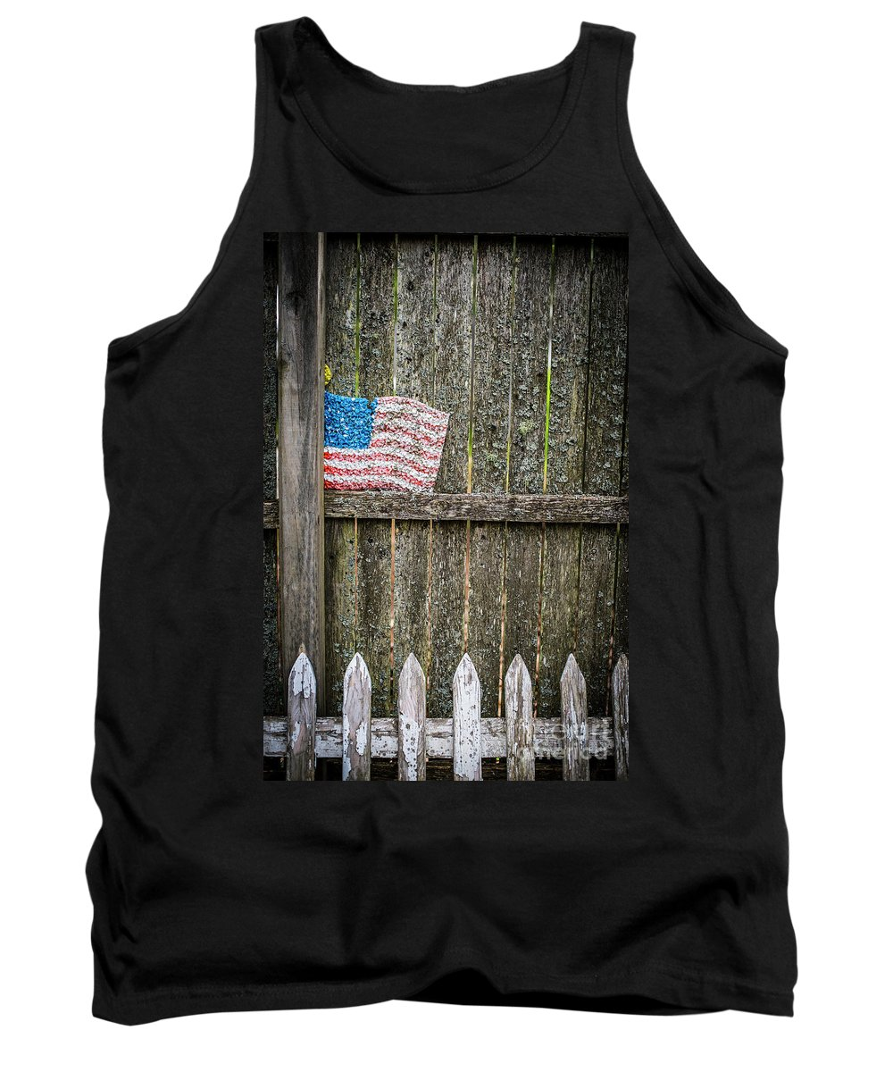 Flag Tank Top featuring the photograph Patriotic Fences by Deborah Brown
