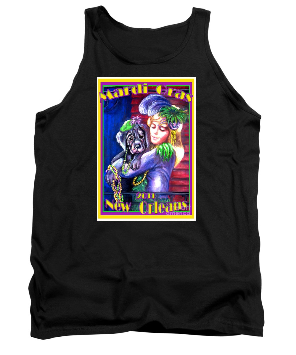 Mardi Gras Poster 2011 Tank Top featuring the pastel Pawdi Gras by Beverly Boulet