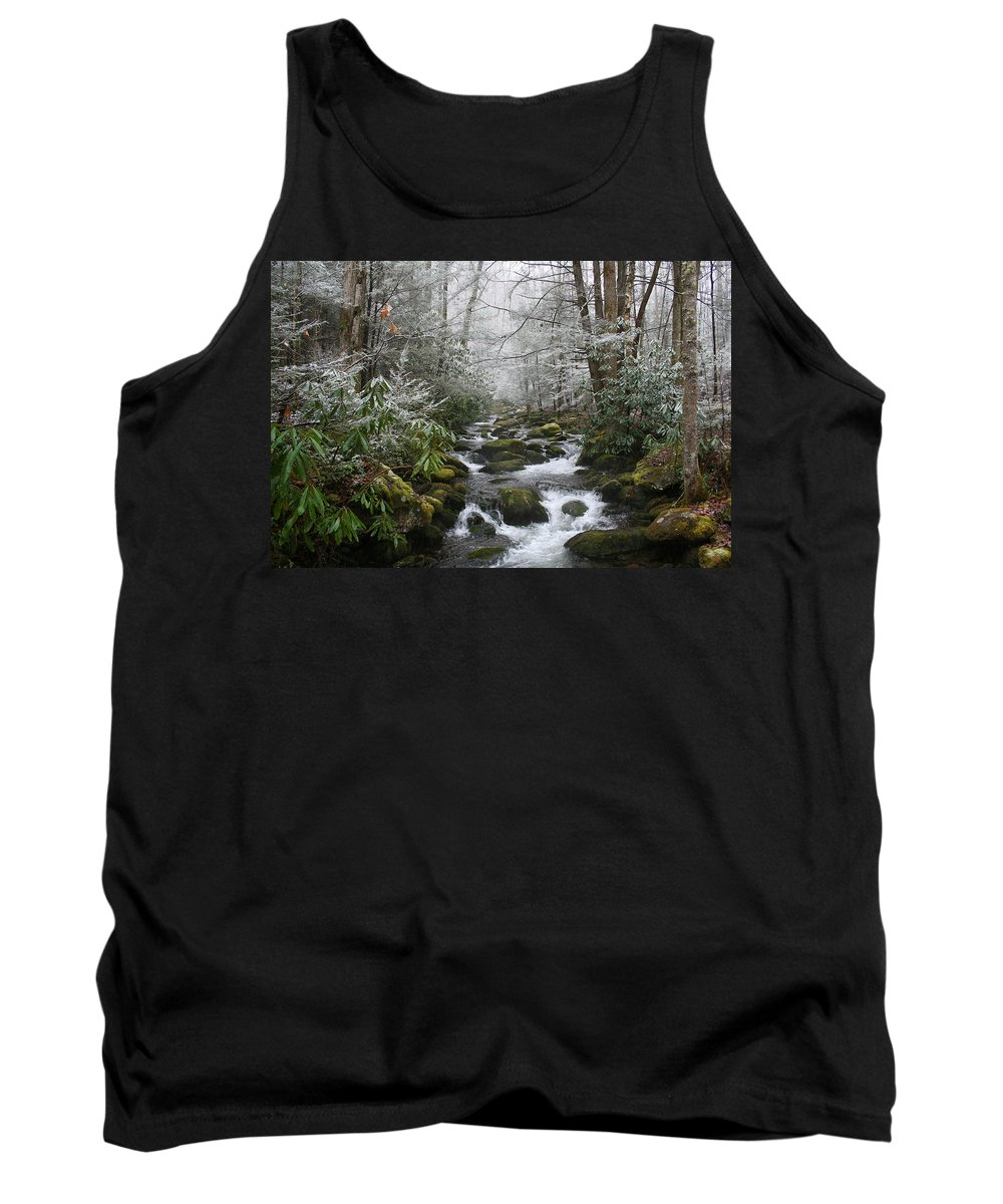 Forest Wood Woods Nature Green White Snow Winter Season Creek River Stream Flow Rock Tree Rush Tank Top featuring the photograph Peaceful Flow by Andrei Shliakhau