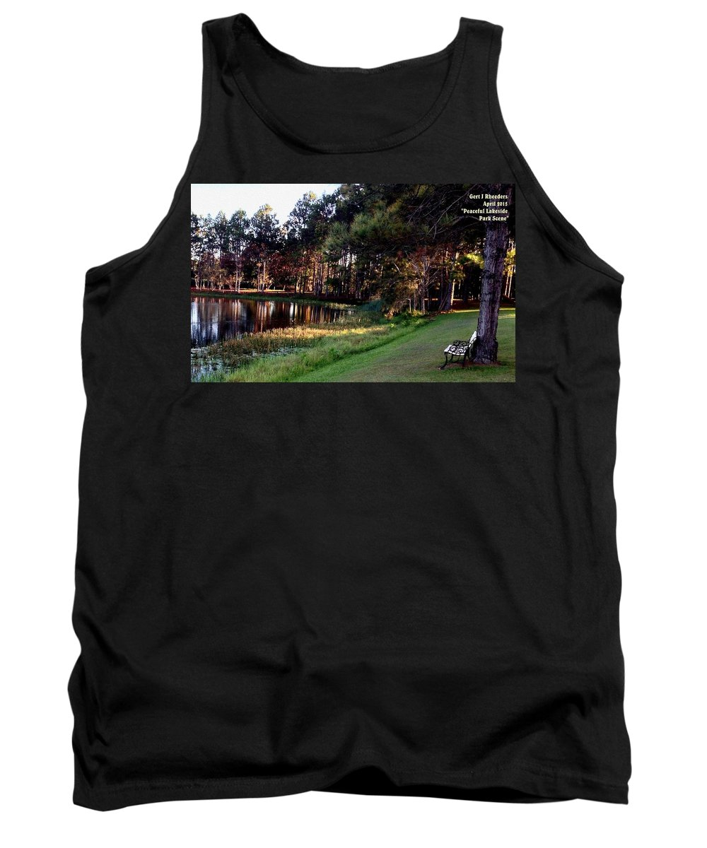 Announcement Tank Top featuring the painting Peaceful Lakeside Park Scene H A by Gert J Rheeders