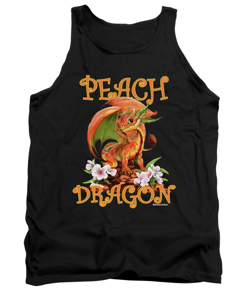 Peach Tank Top featuring the digital art Peach Dragon by Stanley Morrison