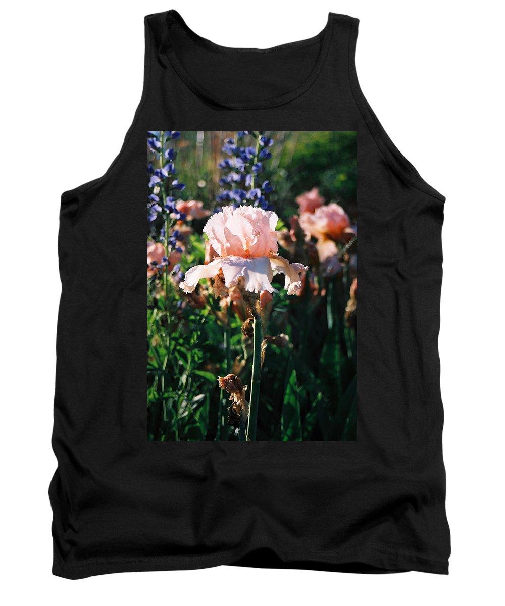Flower Tank Top featuring the photograph Peach Iris by Steve Karol