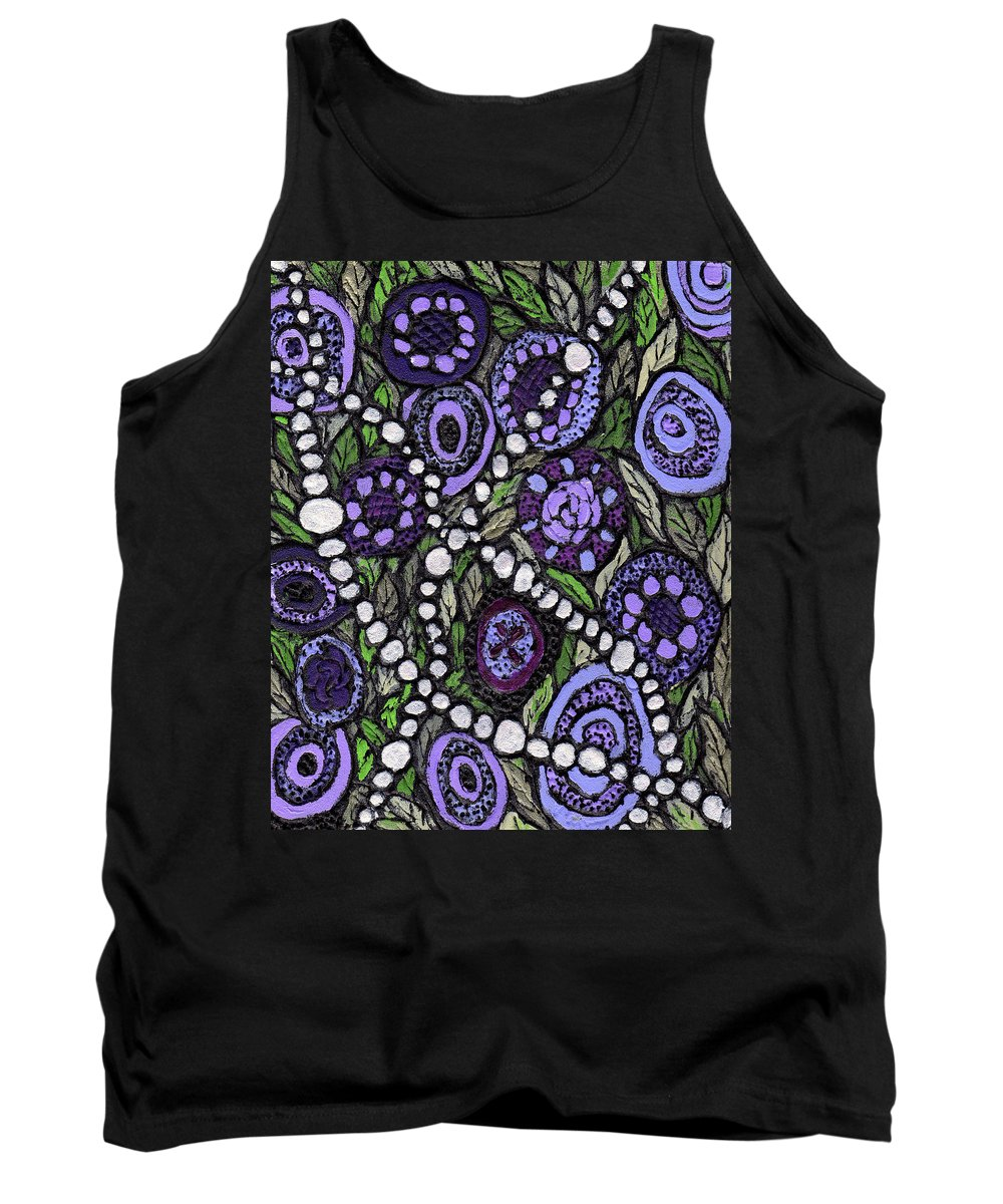 Abstract Tank Top featuring the painting Pearls In The Garden by Wayne Potrafka