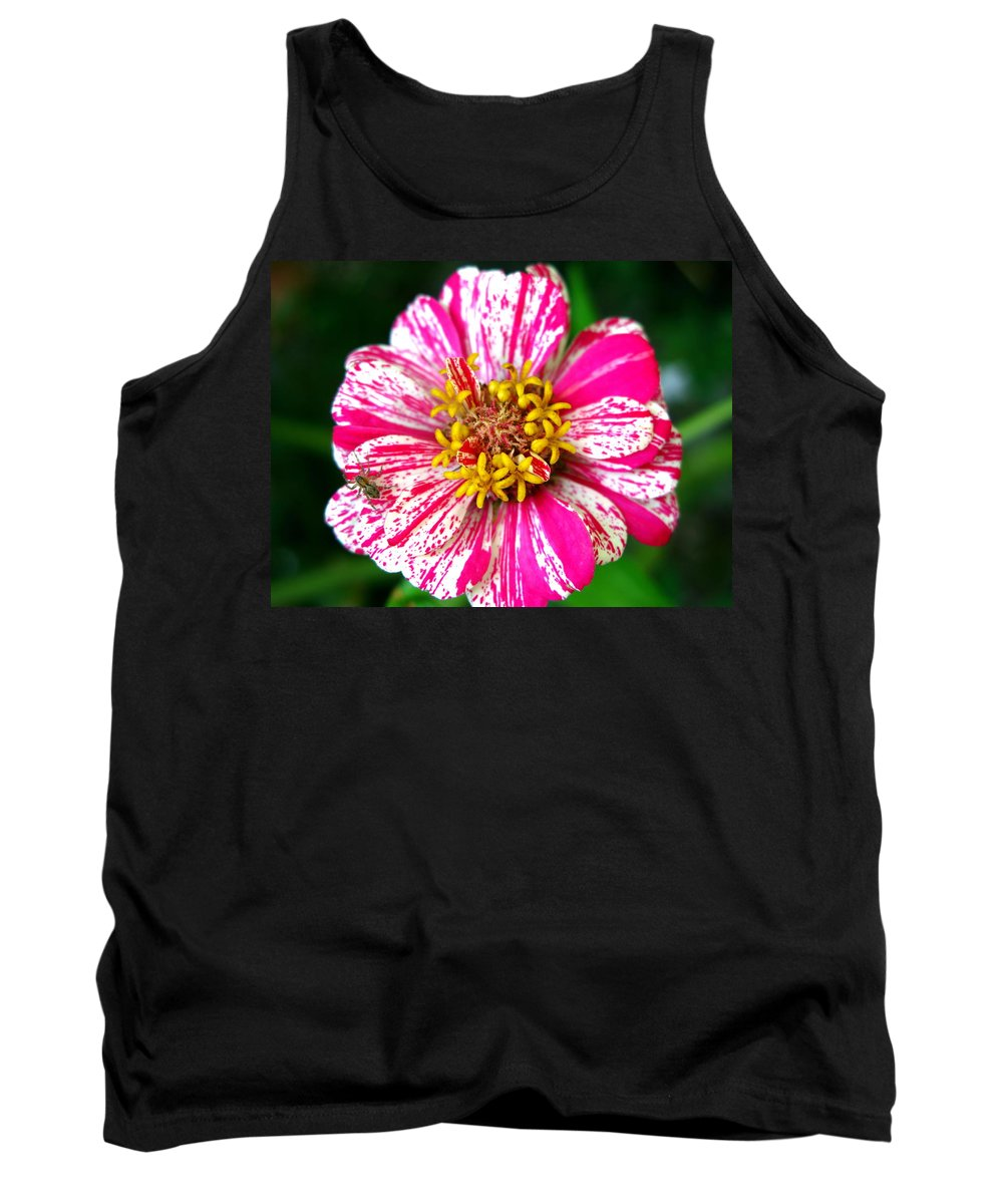 Spider Photograph Tank Top featuring the photograph Peppermint Zennia And Spider by Brittany Horton