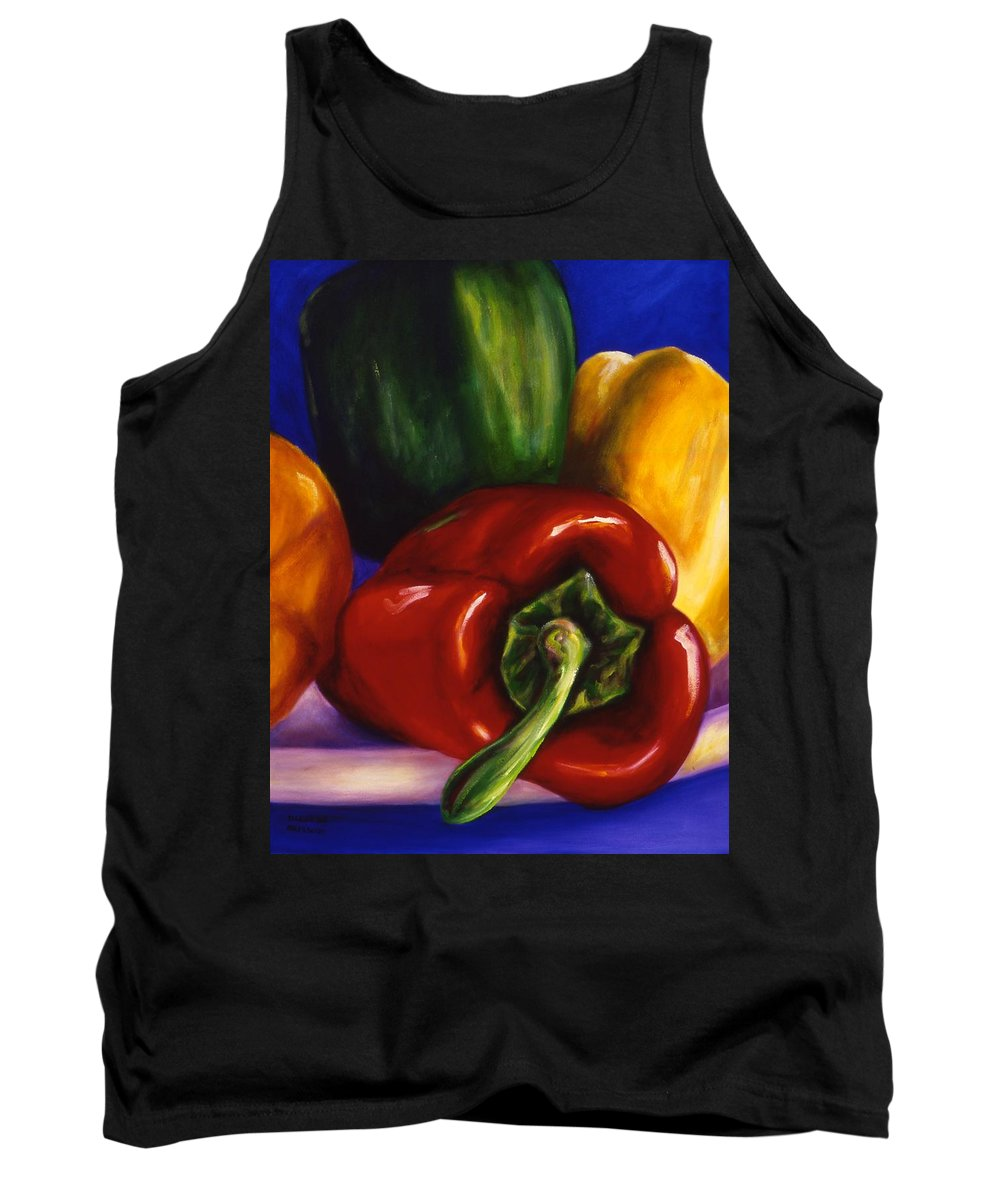 Still Life Tank Top featuring the painting Peppers on Peppers by Shannon Grissom
