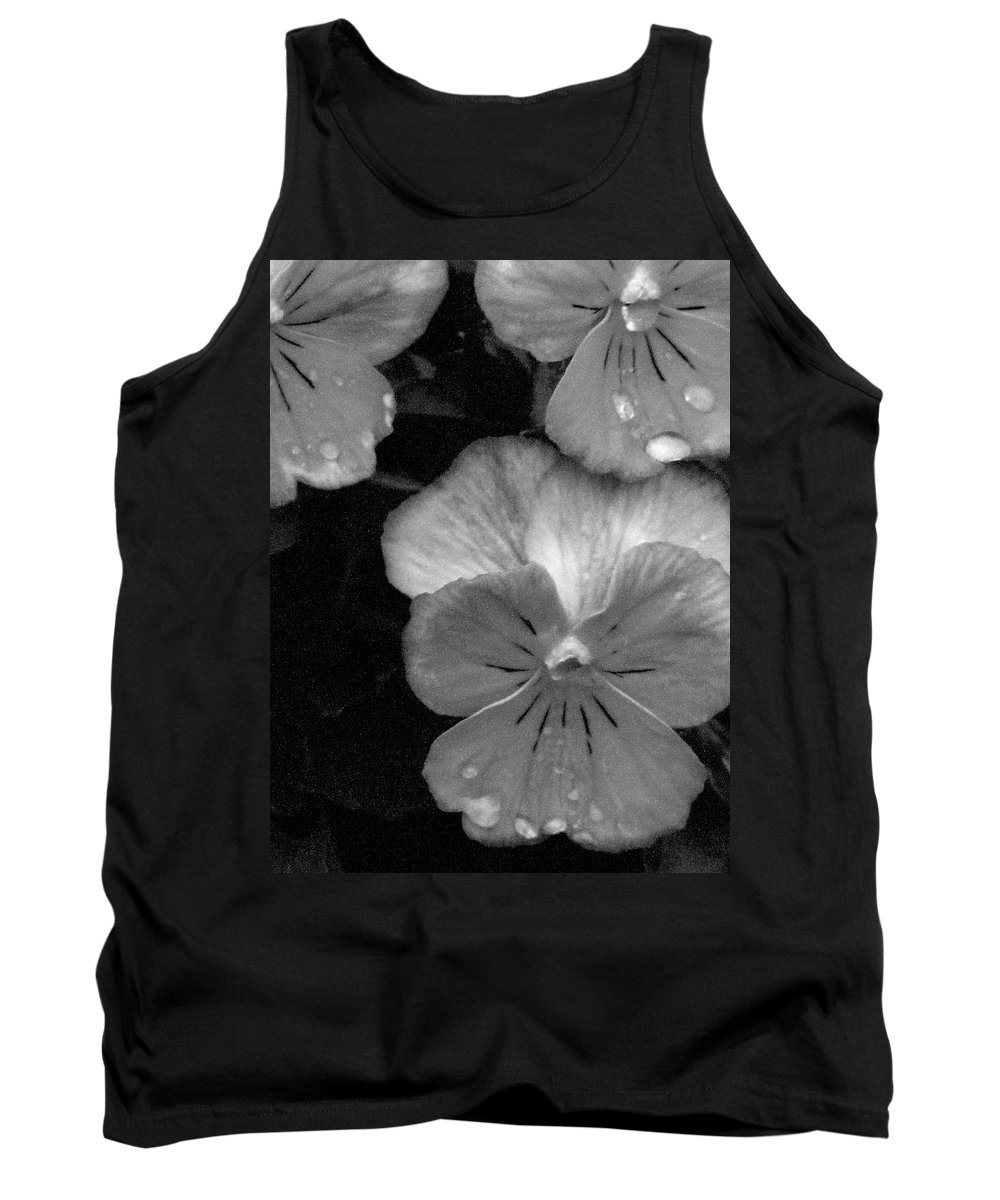 Pansy Tank Top featuring the photograph Perfectly Pansy 12 - Bw - Water Paper by Pamela Critchlow