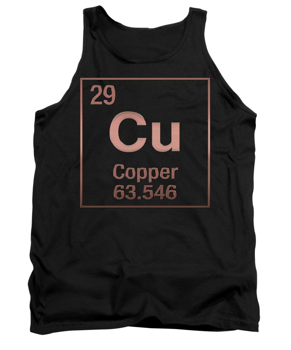 'the Elements' Collection By Serge Averbukh Tank Top featuring the digital art Periodic Table Of Elements - Copper - Cu - Copper On Black by Serge Averbukh