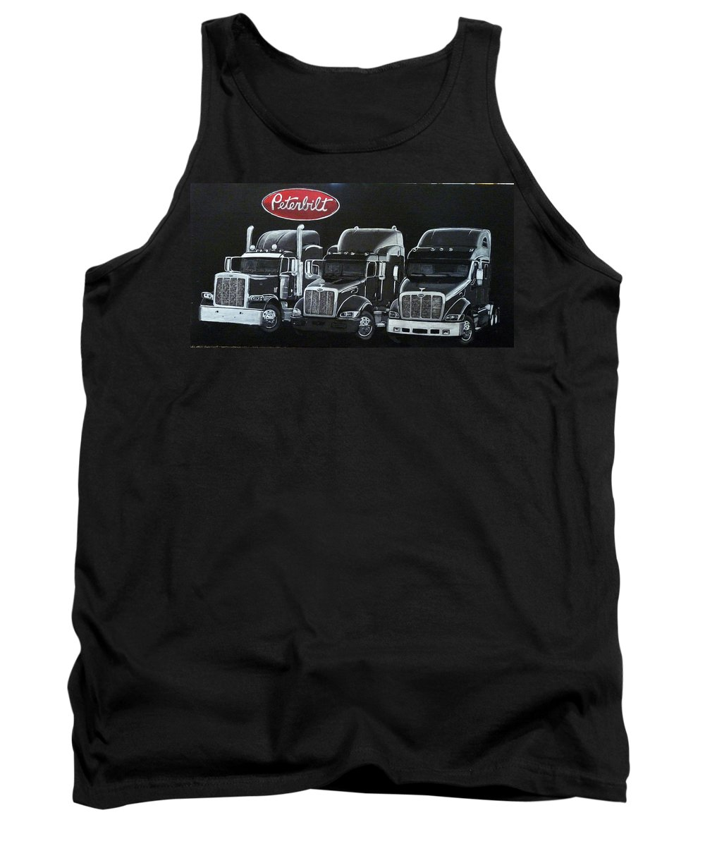 Trucks Tank Top featuring the painting Peterbilt Trucks by Richard Le Page