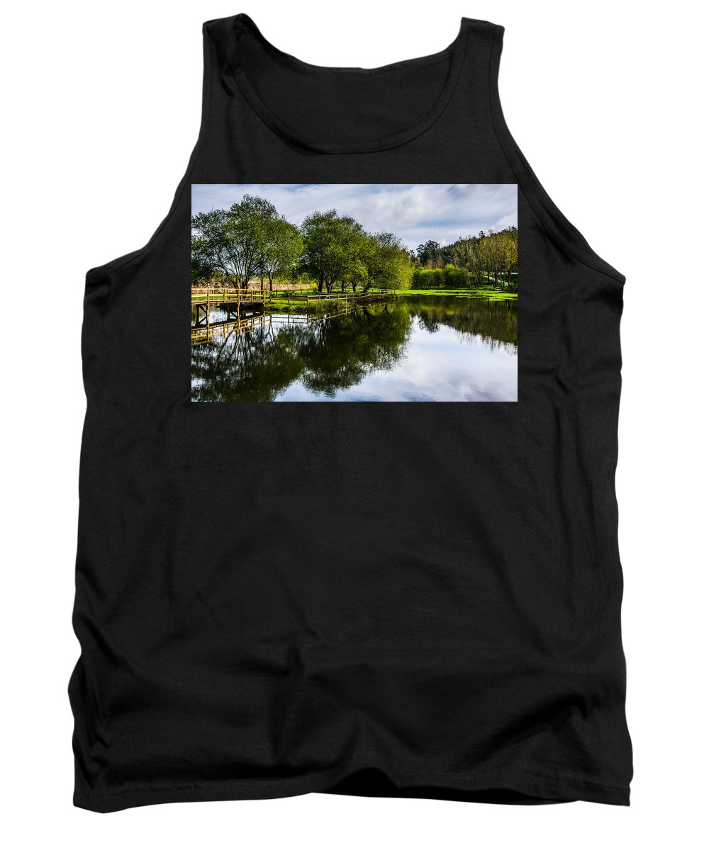 Wooden Bridge Tank Top featuring the photograph Picnic Area In The Marnel River IIi by Marco Oliveira