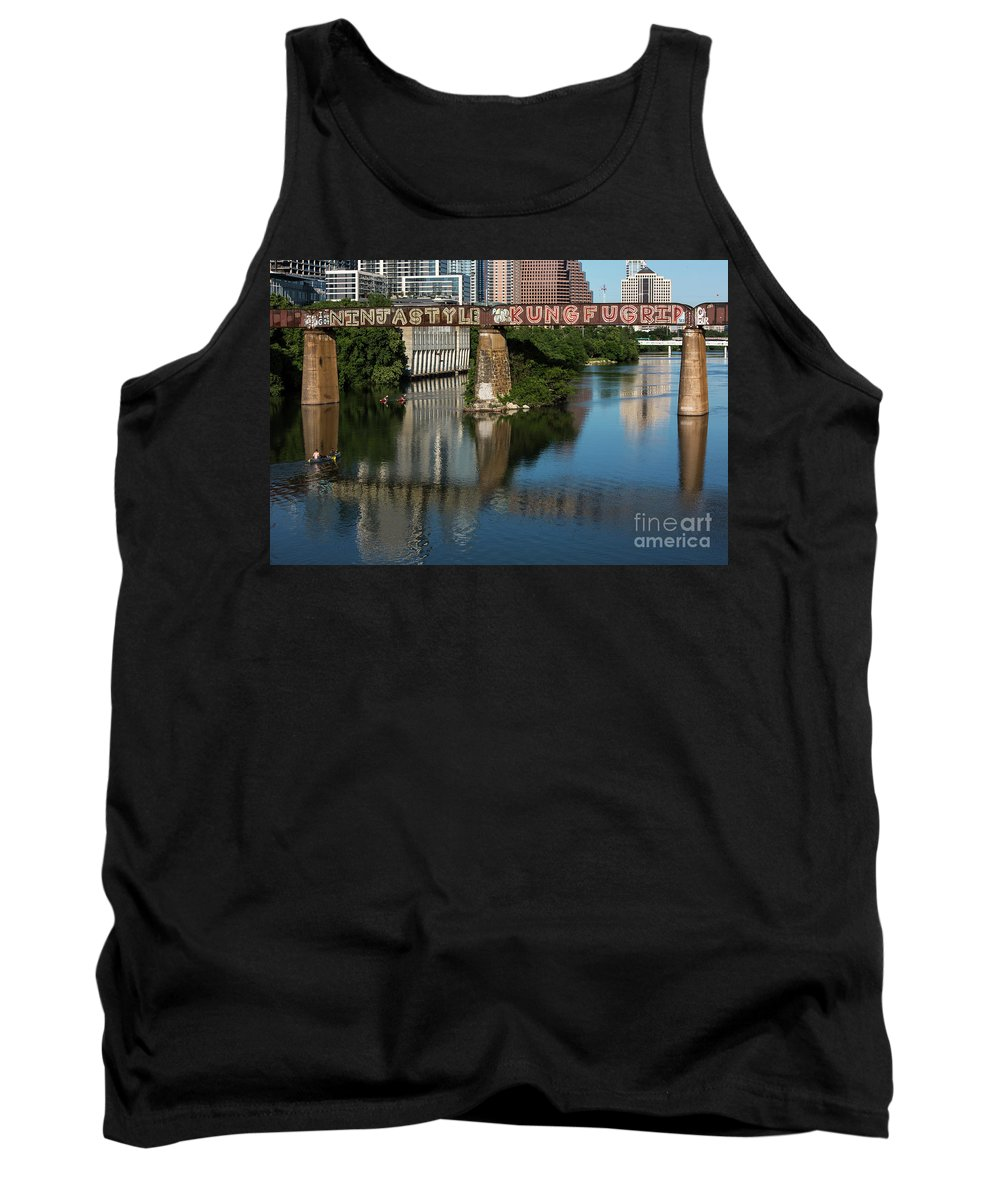 Picturesque Tank Top featuring the photograph Picturesque View Of The Railroad Graffiti Bridge Over Lady Bird Lake As Canoes And Kayakers Paddle Under The Bridge On A Beautiful Summers Day by Austin Welcome Center