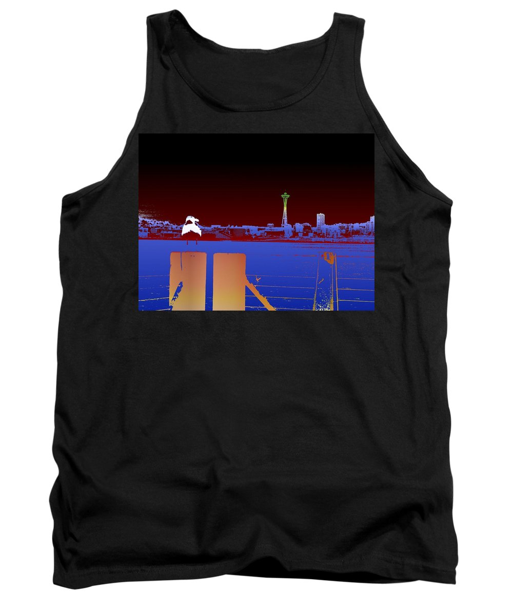 Seattle Tank Top featuring the digital art Pier With A View by Tim Allen
