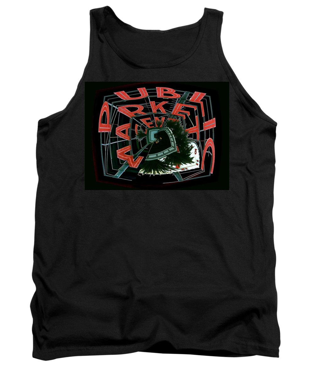 Seattle Tank Top featuring the digital art Pike Place Market Entrance 4 by Tim Allen