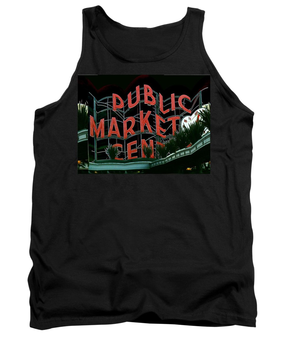 Seattle Tank Top featuring the digital art Pike Place Market Entrance 5 by Tim Allen