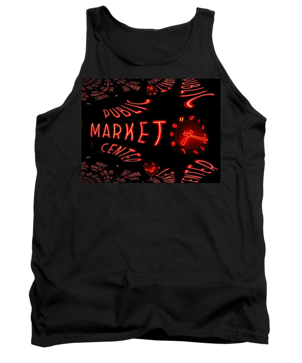 Seattle Tank Top featuring the digital art Pike Place Market Entrance 6 by Tim Allen
