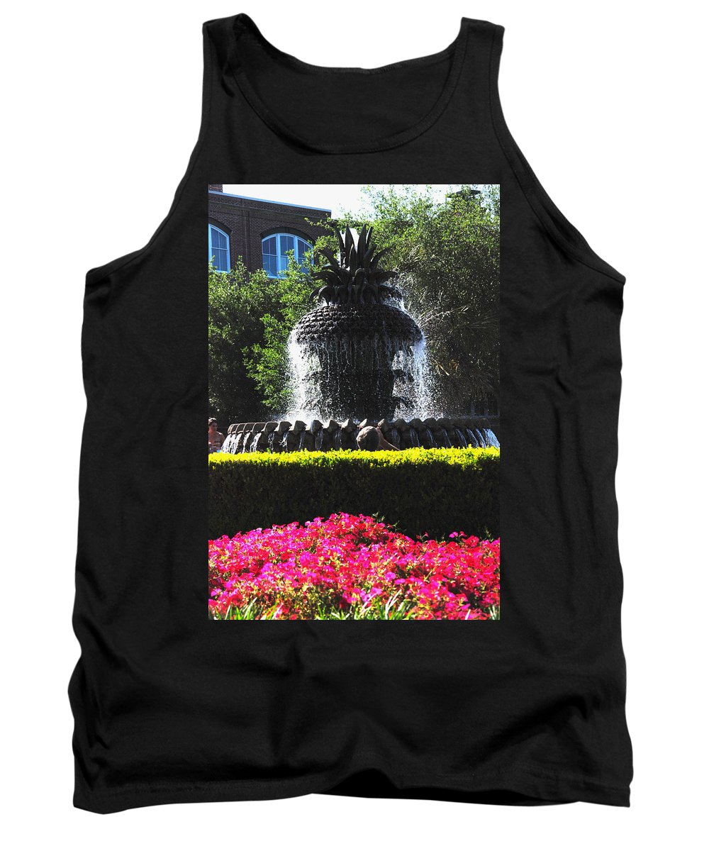 Photography Tank Top featuring the photograph Pineapple Fountain Charleston Sc by Susanne Van Hulst