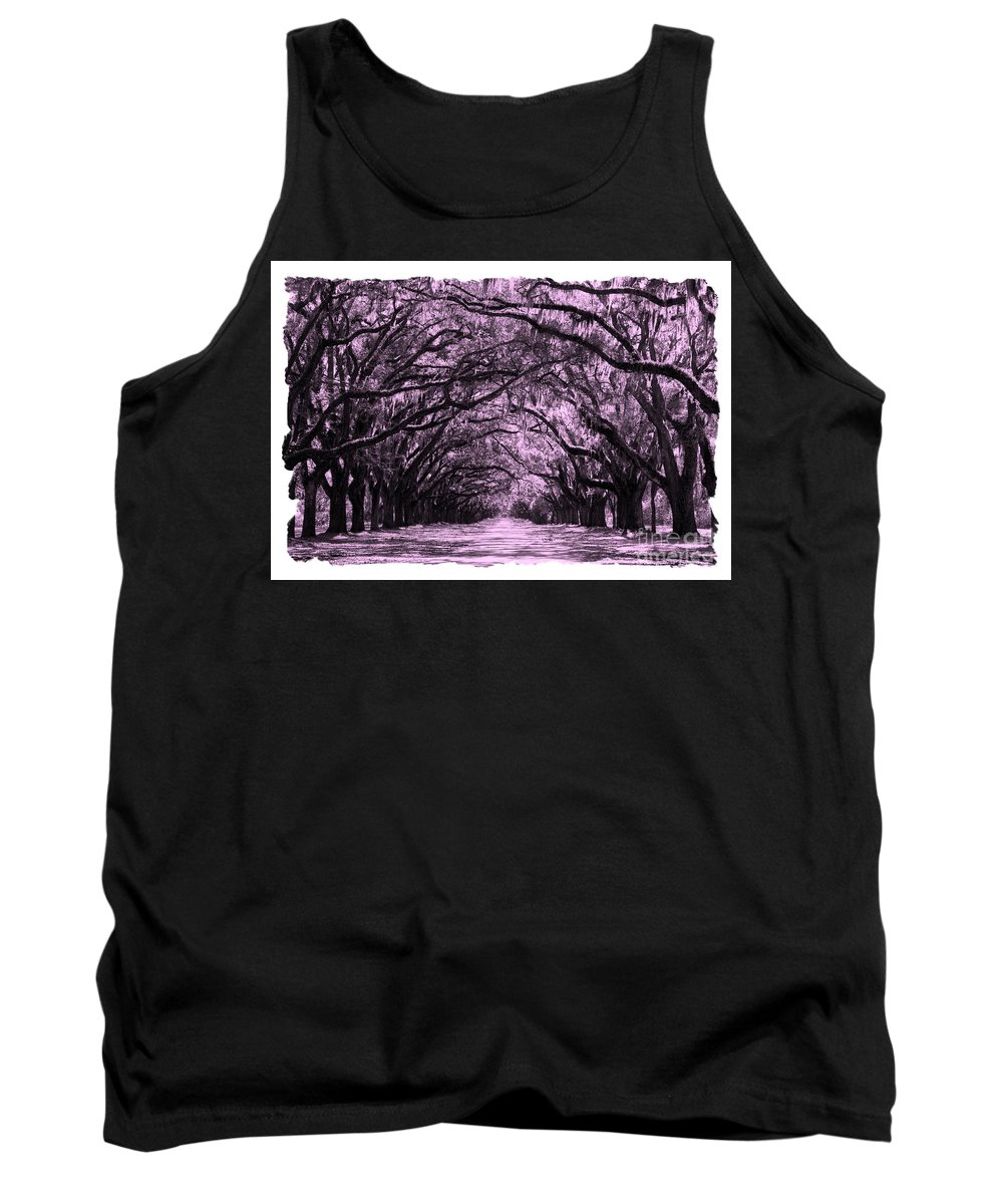Pink Dream World Tank Top featuring the digital art Pink Dream World With White Framing by Carol Groenen