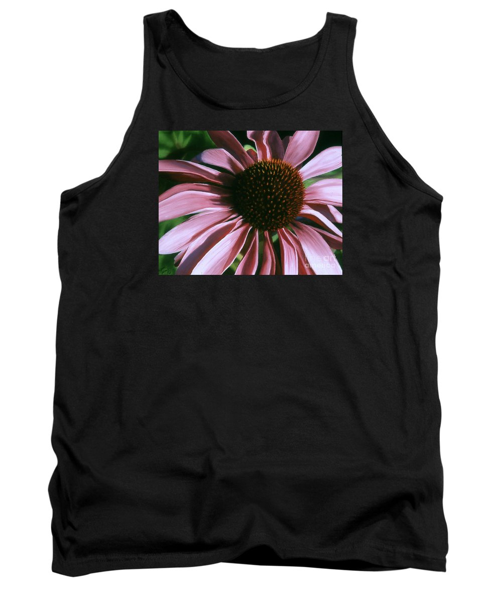 Flower Tank Top featuring the painting Pink Echinacea by Susan Jump