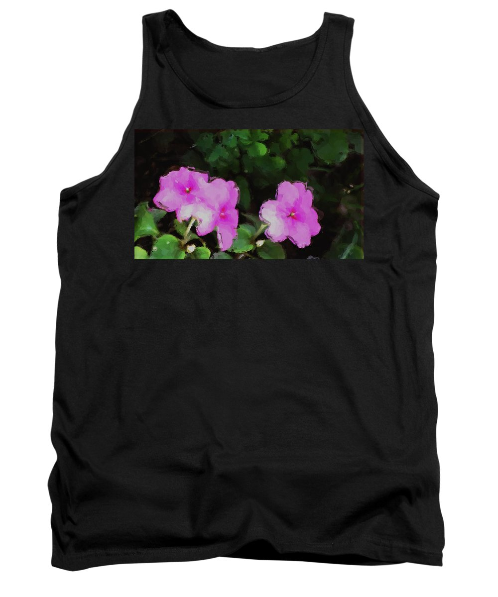 Digital Photograph Tank Top featuring the photograph Pink Floral Watercolor by David Lane