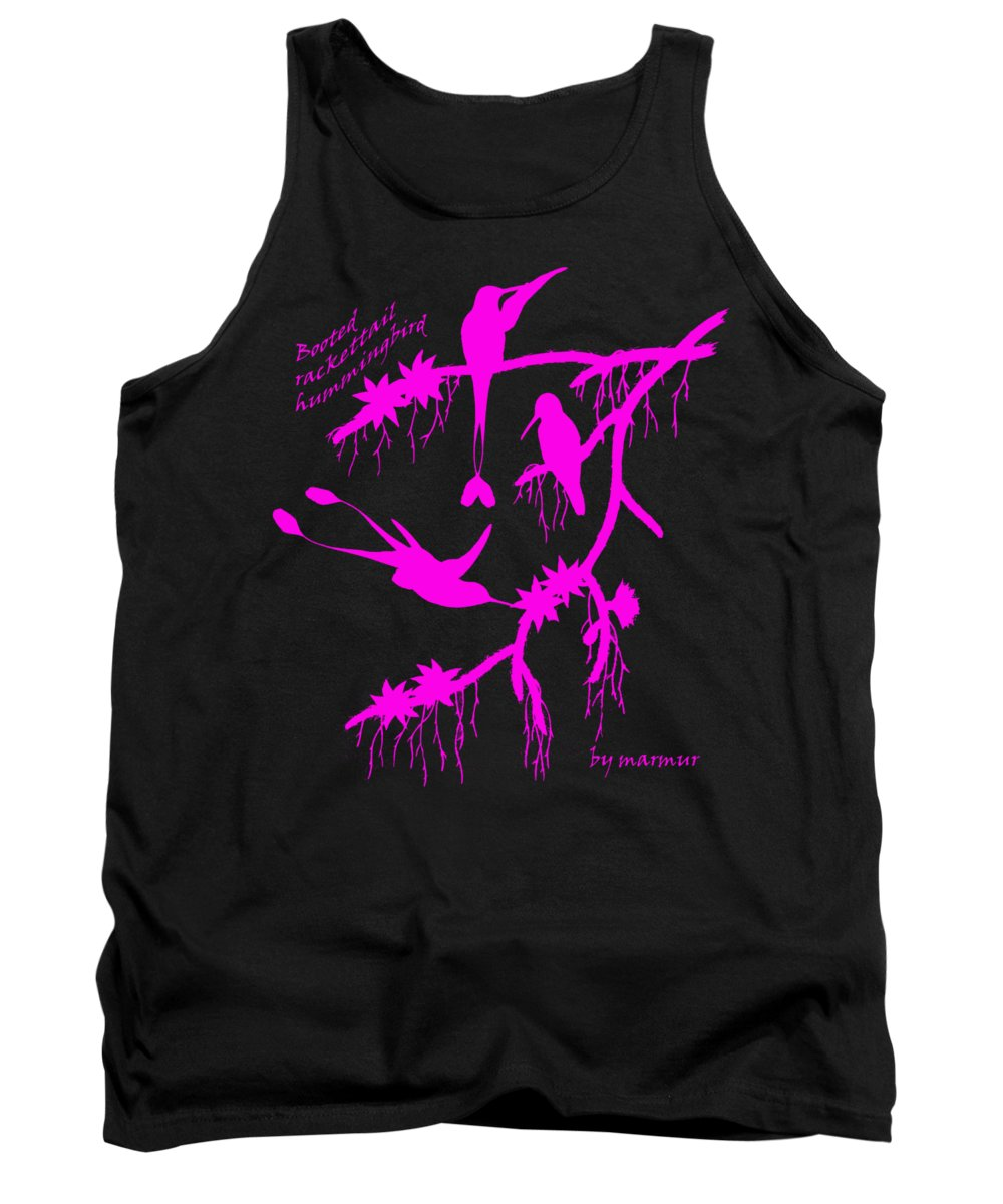 Pink Tank Top featuring the painting Pink Hummingbirds by The one eyed Raven