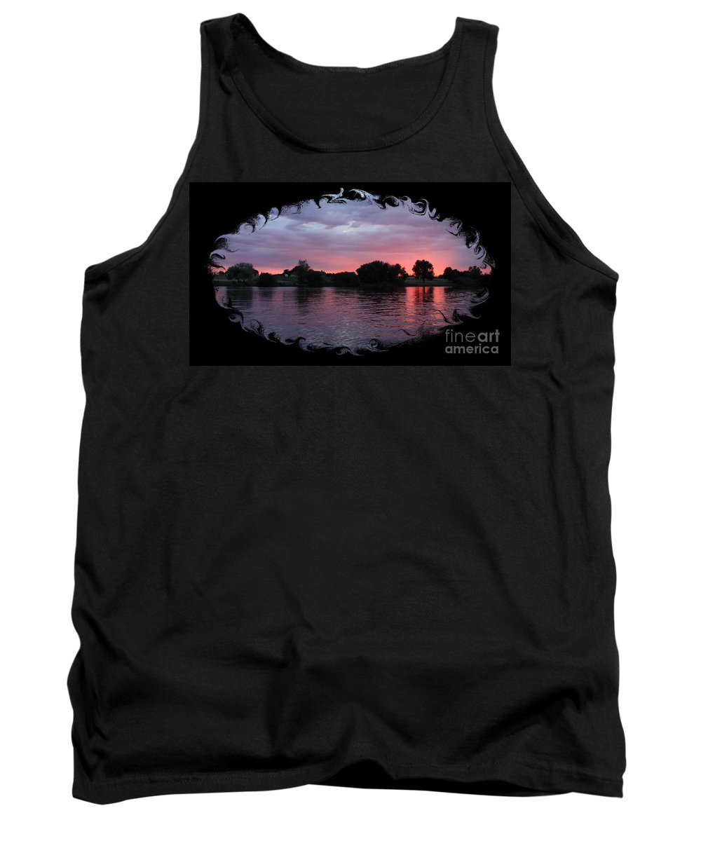 Sunset Tank Top featuring the photograph Pink Sunset Panorama With Black Framing by Carol Groenen
