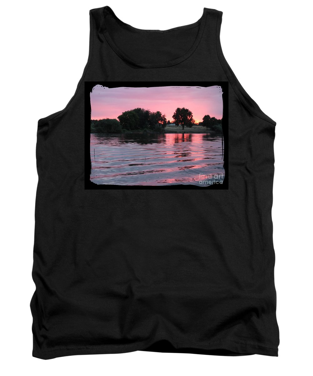 Pink Sunset Tank Top featuring the photograph Pink Sunset With Soft Waves In Black Framing by Carol Groenen