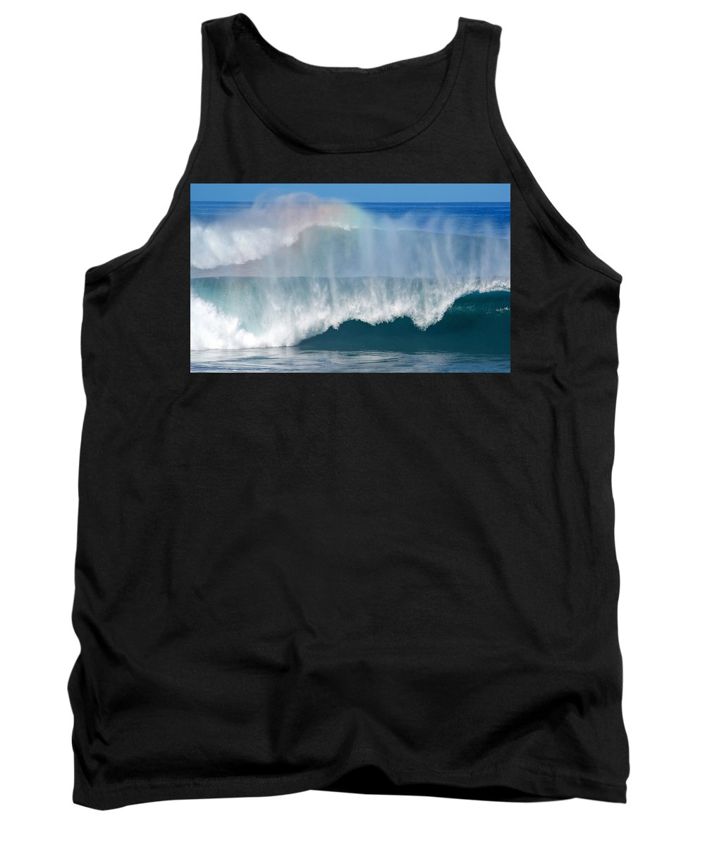 Rainbow Tank Top featuring the photograph Pipeline Rainbow by Kevin Smith