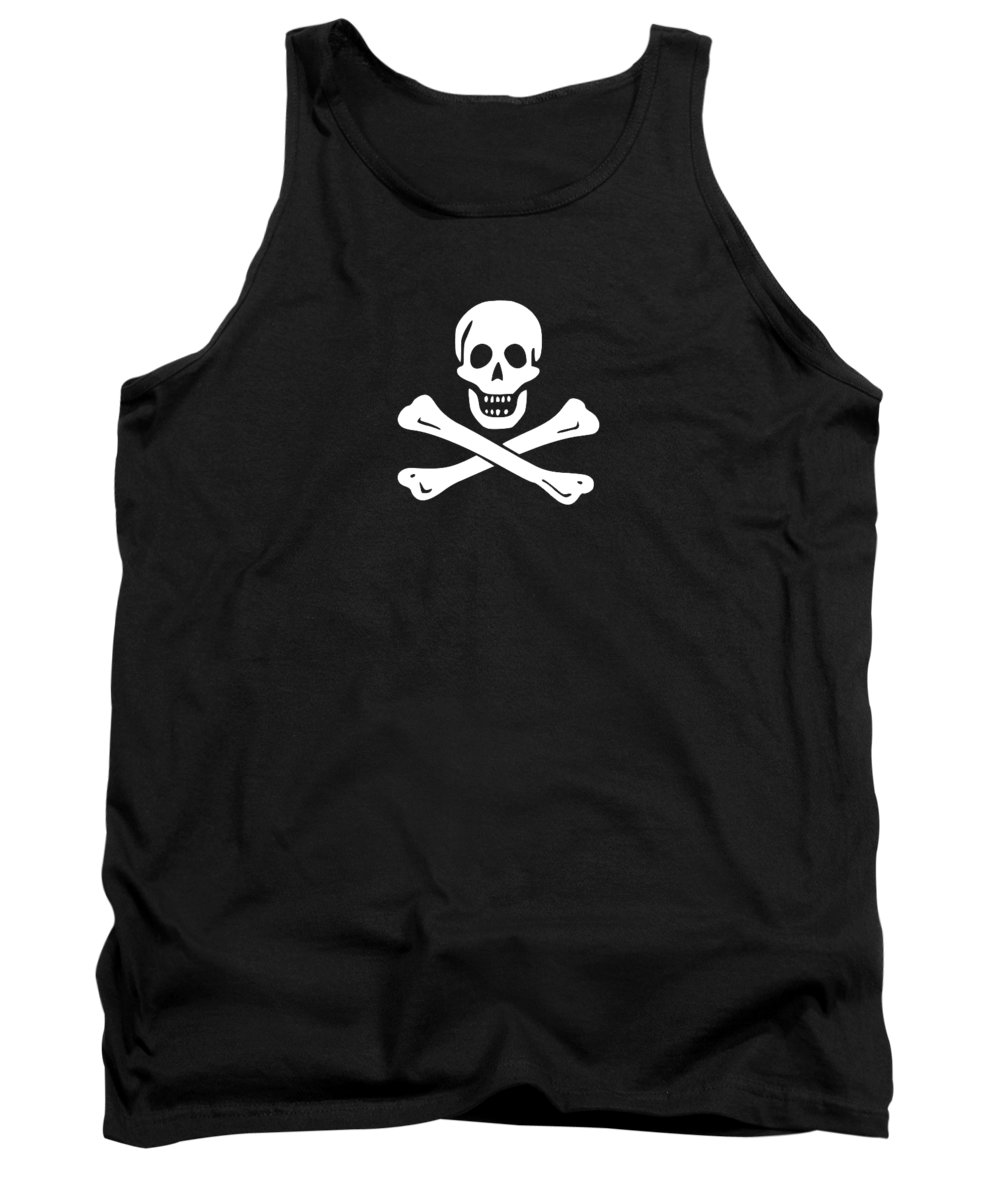 Jolly Tank Top featuring the digital art Pirate Flag Tee by Edward Fielding