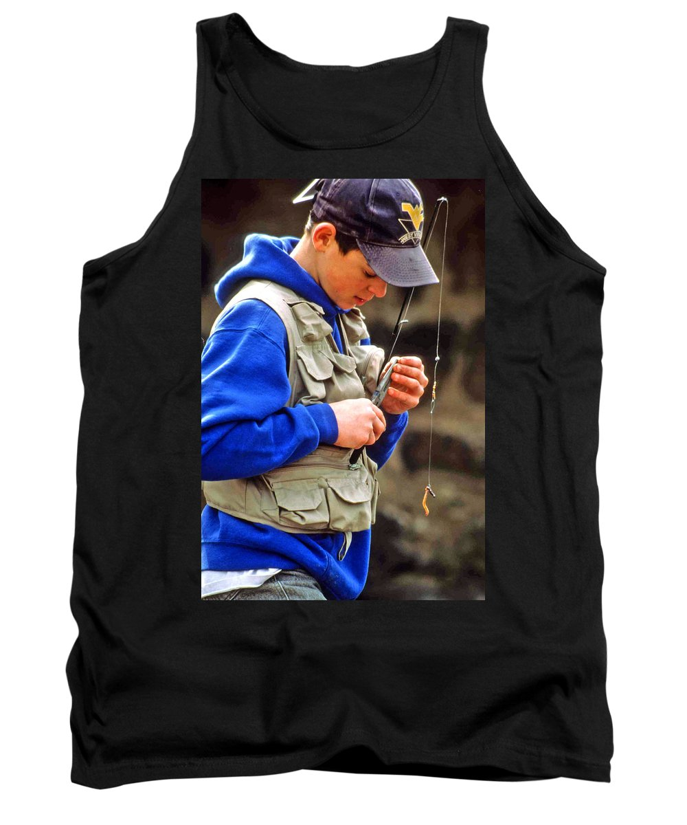 Boy Fishing Tank Top featuring the photograph Plan To Succeed by Laurie Paci