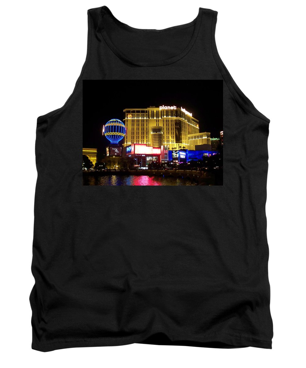 Vegas Tank Top featuring the photograph Planet Hollywood By Night by Anita Burgermeister