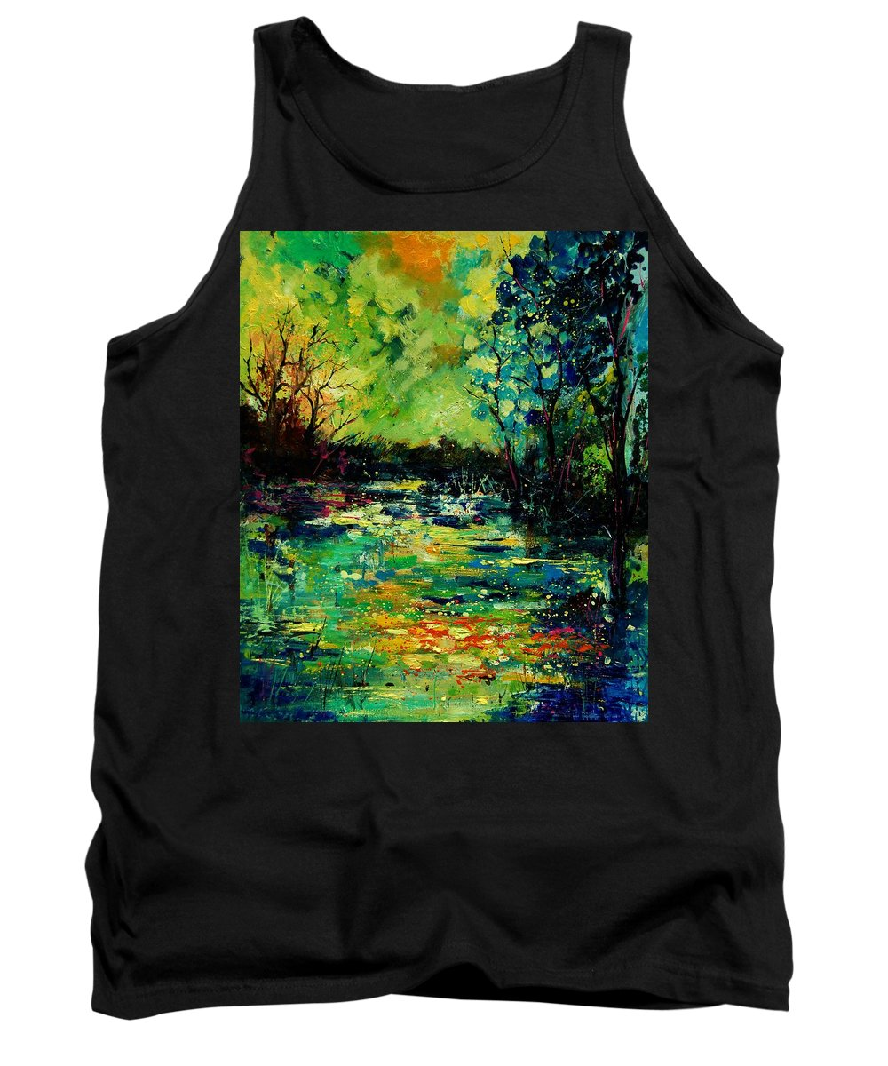 Pond Tank Top featuring the painting Pond 560120 by Pol Ledent