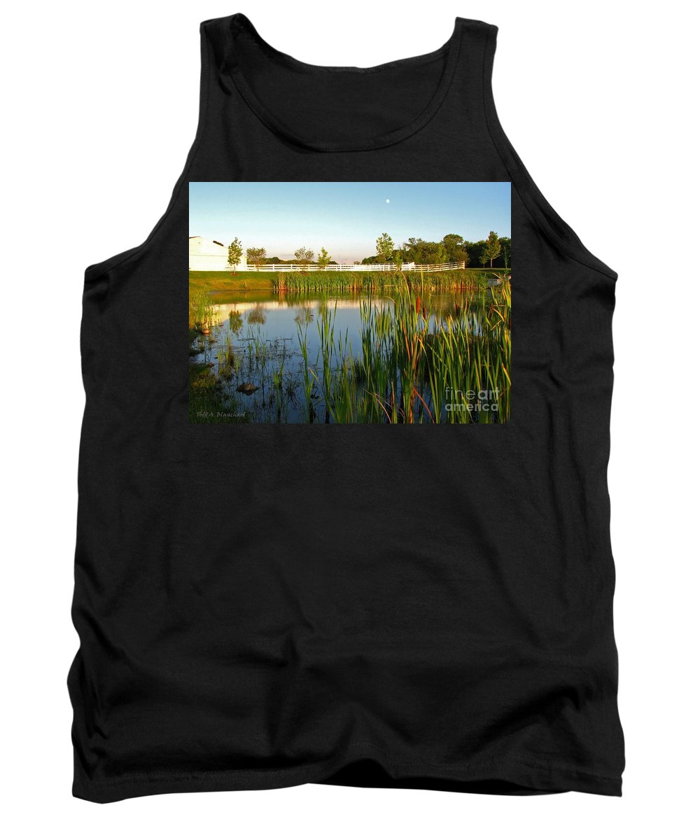 Landscape Tank Top featuring the photograph Pond At Sunset by Todd A Blanchard