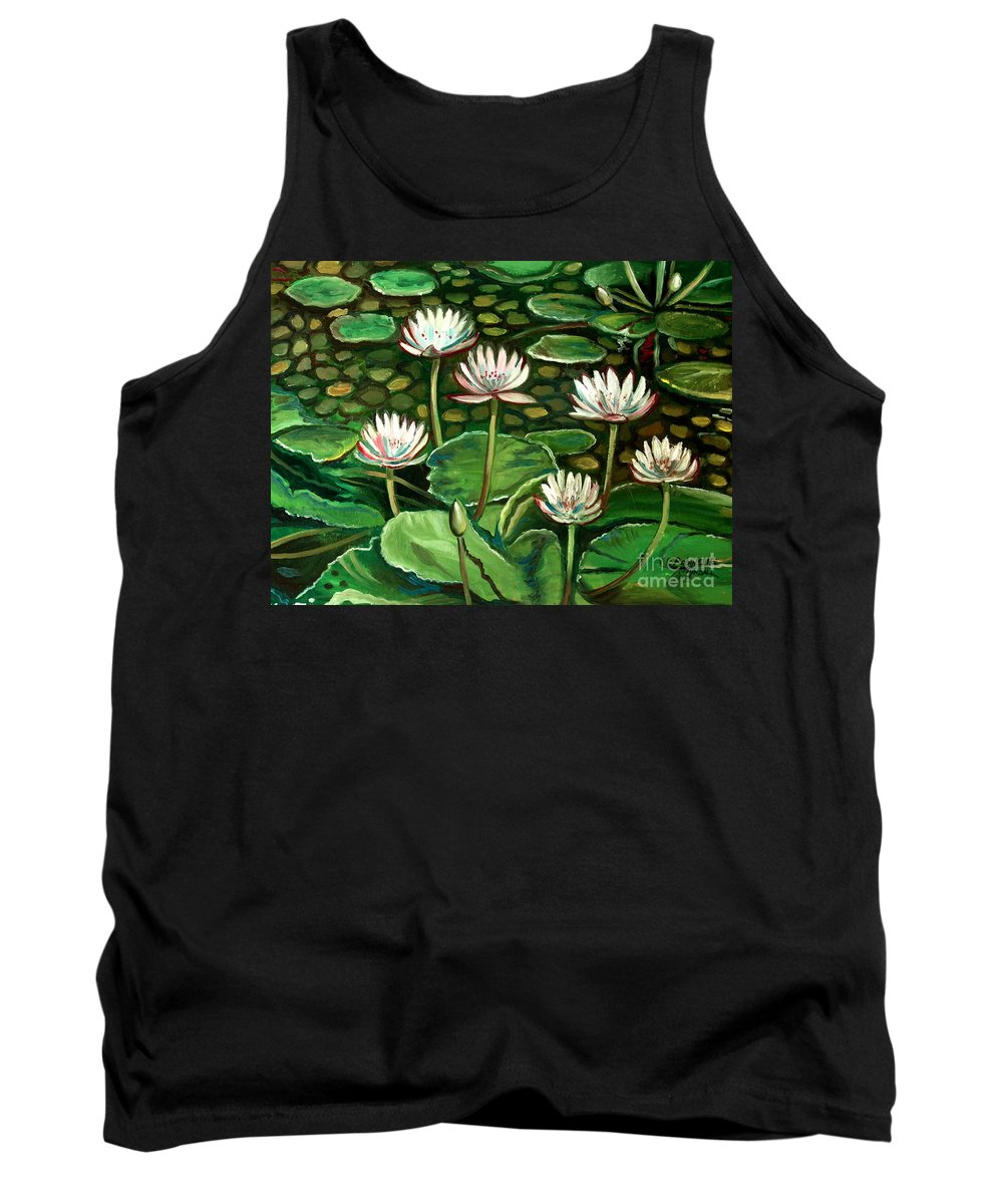 Water Tank Top featuring the painting Pond Of Petals by Elizabeth Robinette Tyndall