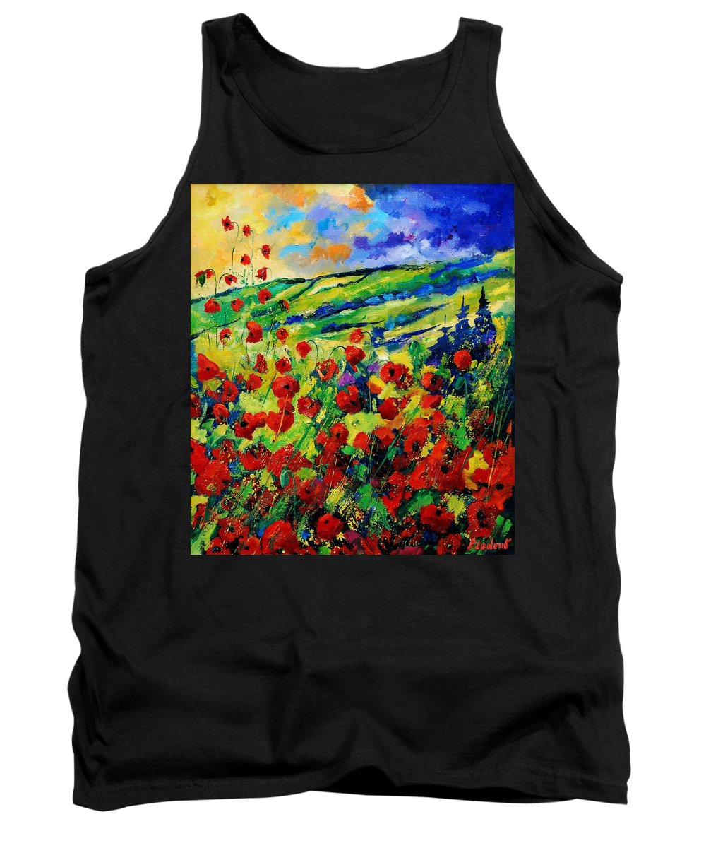 Flowers Tank Top featuring the painting Poppies 78 by Pol Ledent
