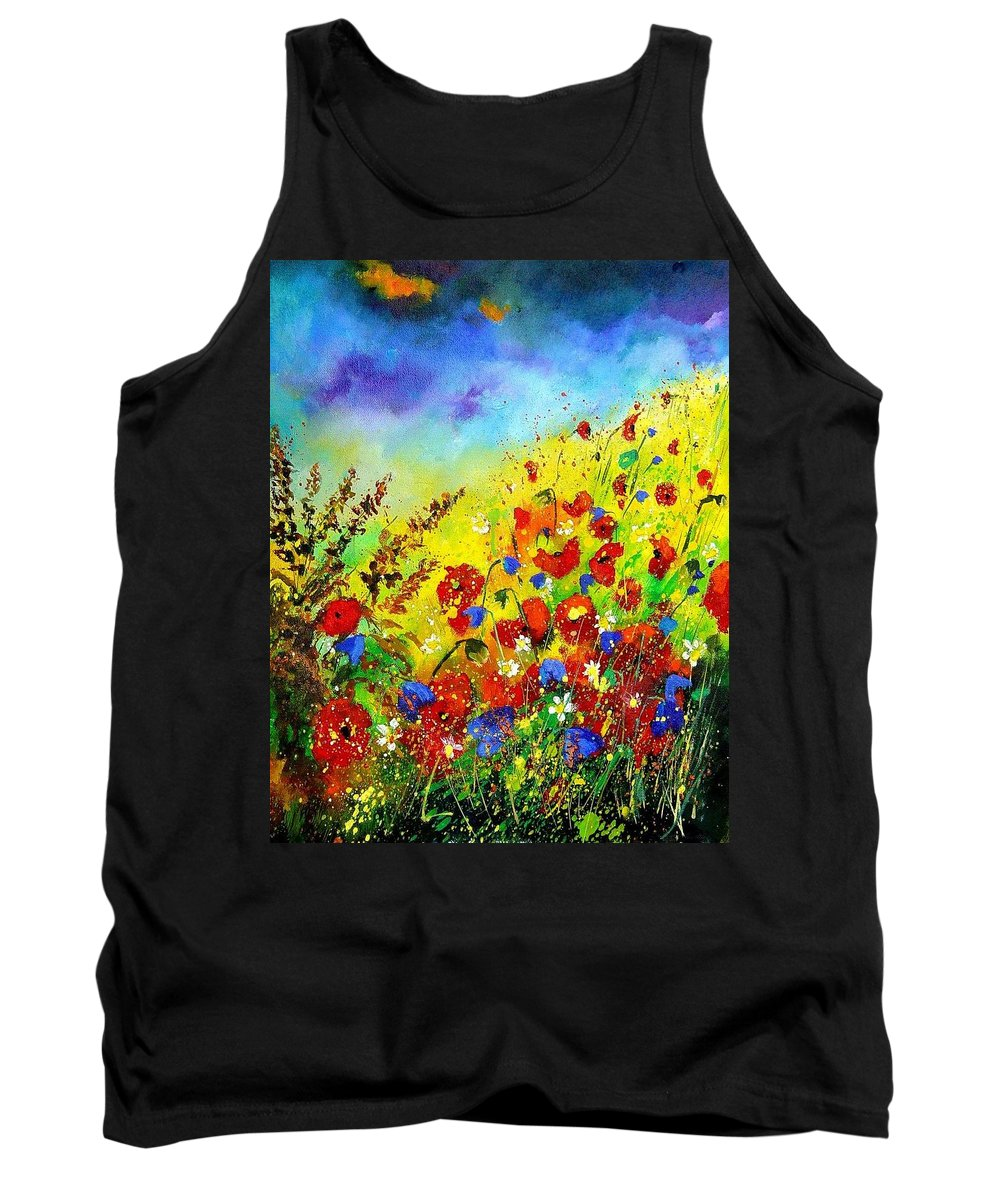 Poppies Tank Top featuring the print Poppies And Blue Bells by Pol Ledent