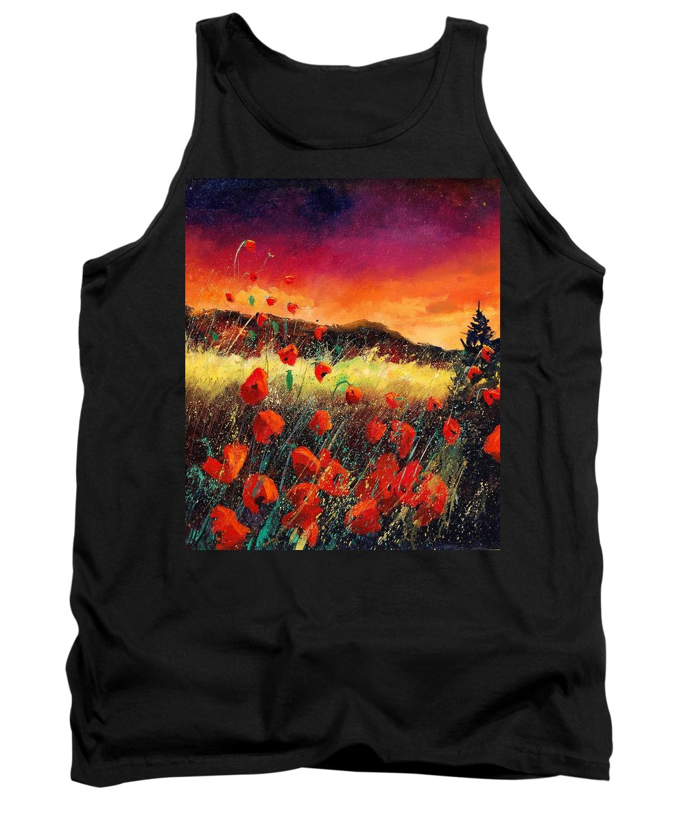 Poppies Tank Top featuring the painting Poppies At Sunset 67 by Pol Ledent